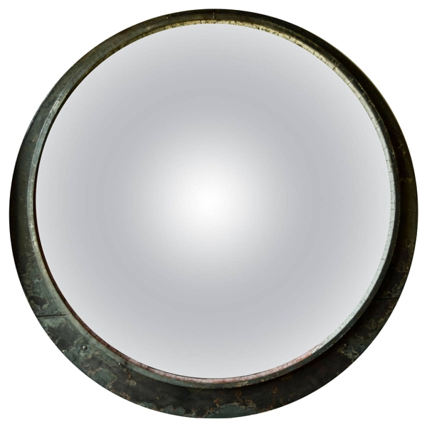 Vintage Round Monumental Train Mirror, c. 19th Century