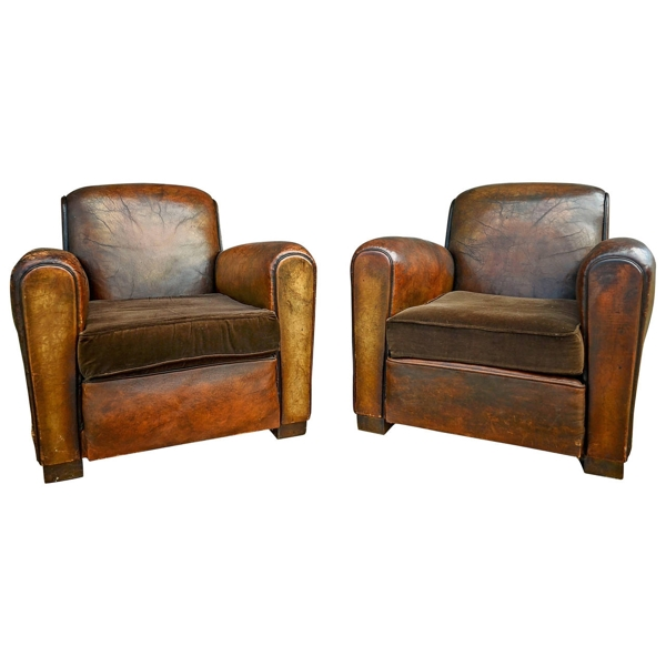Pair of French Leather Club Chairs with Velvet Cushions