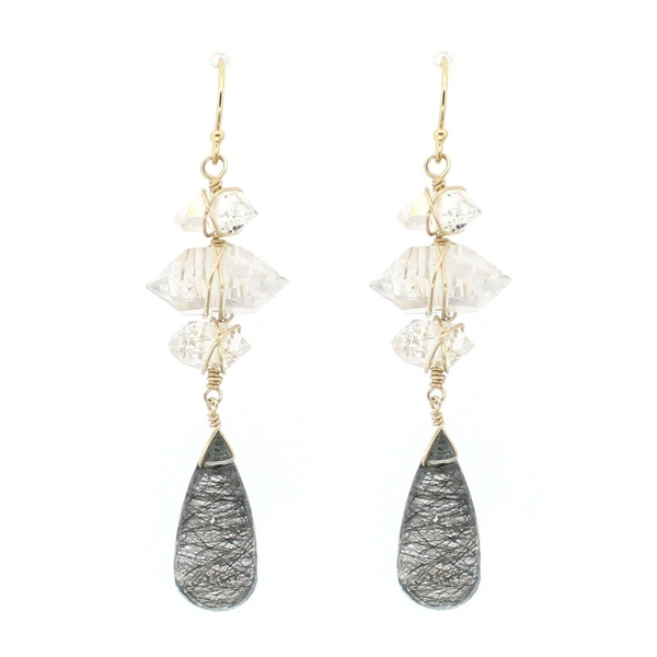 Black Rutilated Quartz and Crystal Earrings