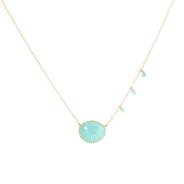 Sleeping Beauty Turquoise Fringe Bezel Necklace