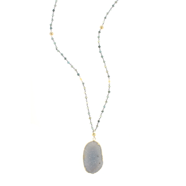 Druzy and Moss Aquamarine Oxidized Sterling Silver Necklace