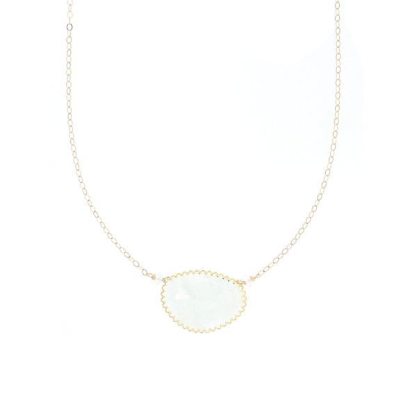 Aquamarine Bezel Necklace