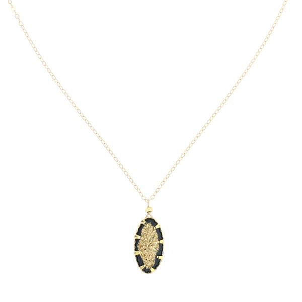24K Gold Plated Black Geode Necklace