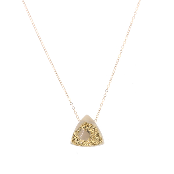 24K Gold Druzy Geode Triangle Necklace