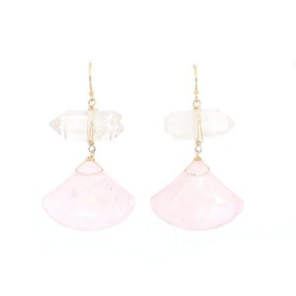 Rose Quartz and Crystal Point Earrings