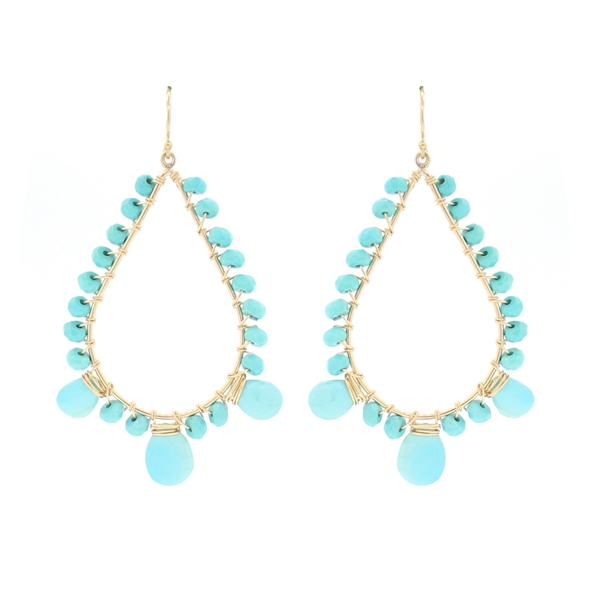 Sleeping Beauty Turquoise Beaded Teardrop Earrings