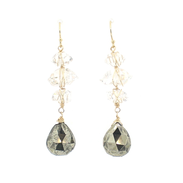 Pyrite and London Blue and Herkimer Diamond Quartz Earring