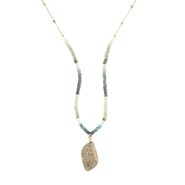 Ombre Moss Aquamarine and Gold Druzy Necklace