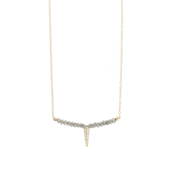 Labradorite CZ Spike Necklace, 14K Gold Fill