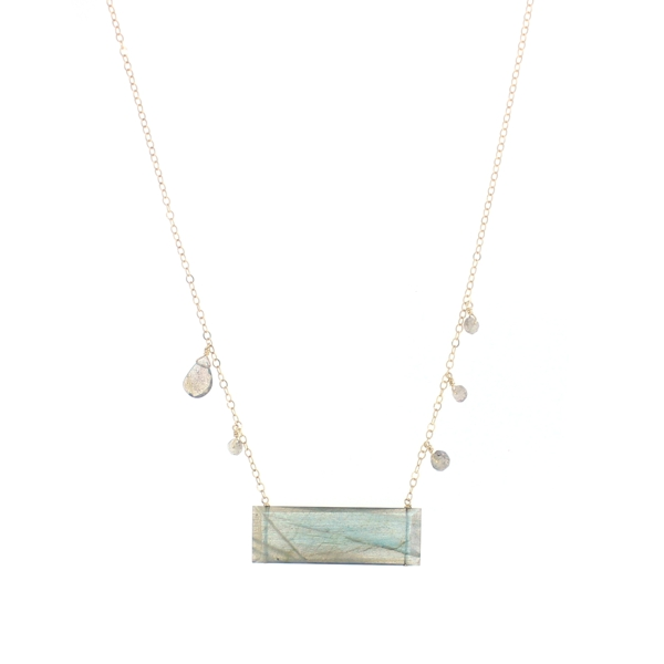 Large Labradorite Bar Necklace