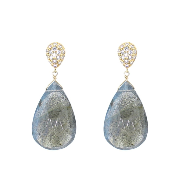 Labradorite and CZ Teardrop Earrings