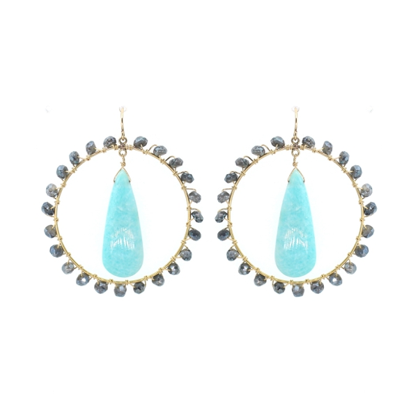 Amazonite and Labradorite Hoop Earrings