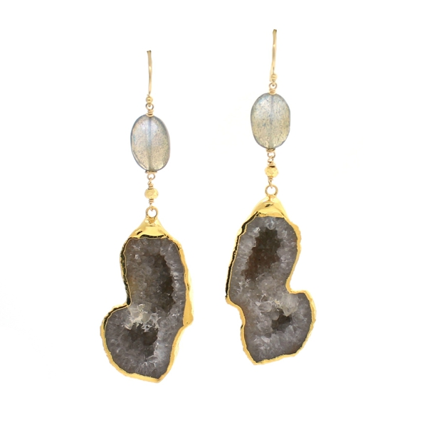 Labradorite and Agate Geode Earrings