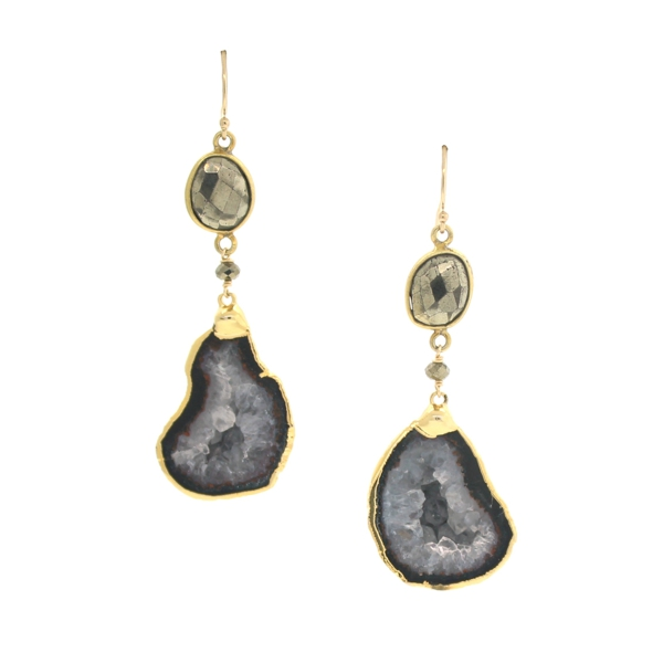Pyrite and Agate Geode Earrings
