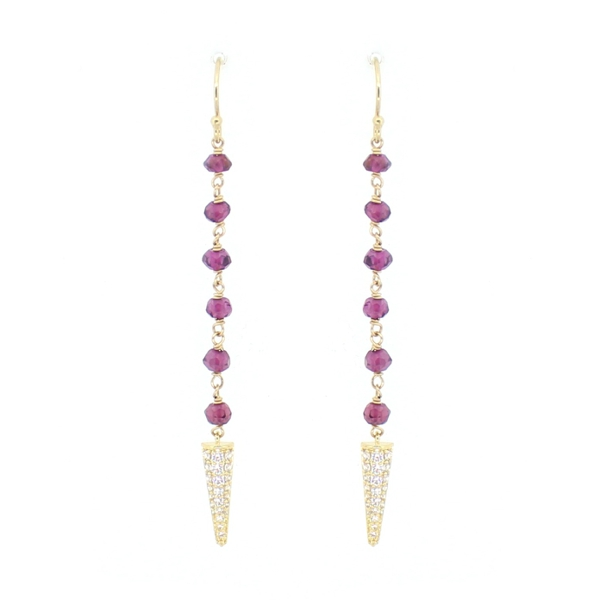 Rhodolite Garnet and CZ Spike Earrings