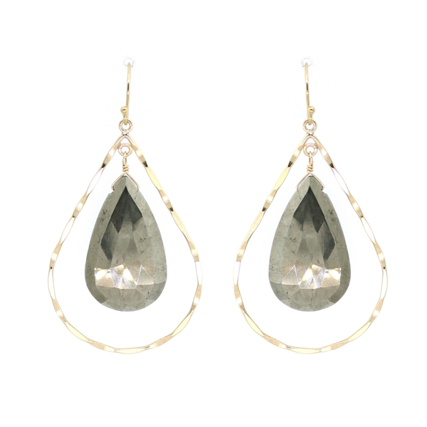 Pyrite Hammered Teardrop Earrings