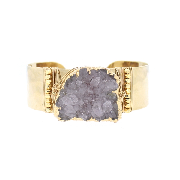 Druzy and Gold Pyrite Hammered Cuff