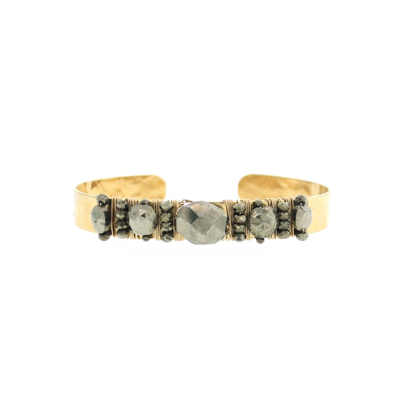 Multi Pyrite Hammered Cuff