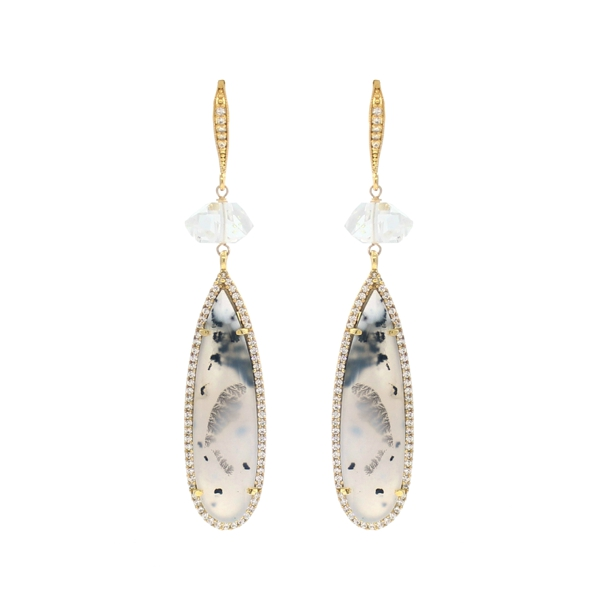 Herkimer Diamond Quartz and Dendritic Opal CZ Earrings