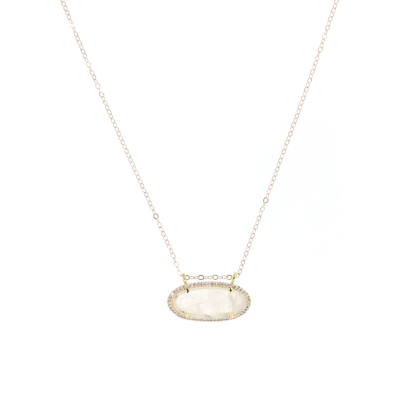 Moonstone CZ Oval Necklace, 14K Gold Fill