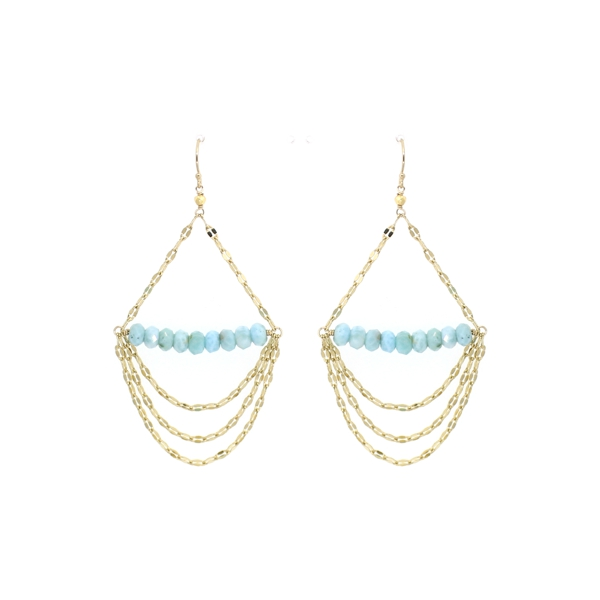 Larimar Draped Bar Earrings, 14K Gold Fill