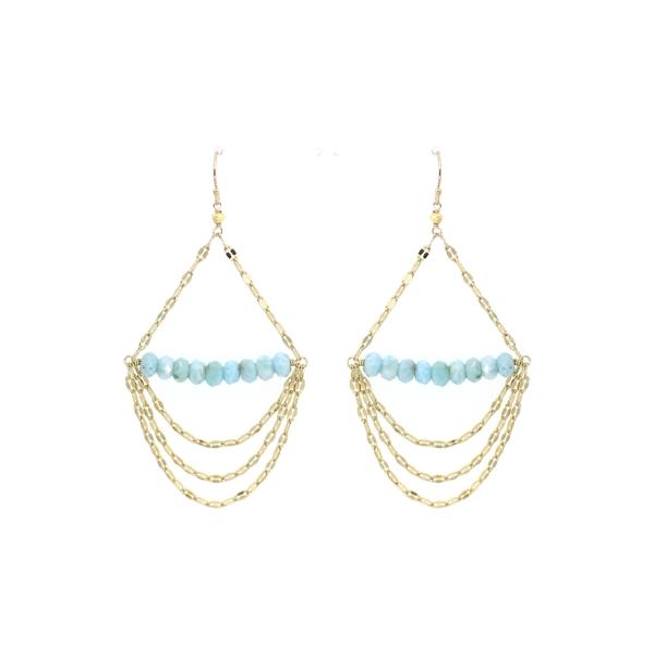 Larimar Draped Bar Earrings, 14K Gold Fill