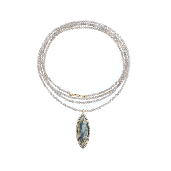 Mystic Labradorite CZ Marquise Beaded Necklace
