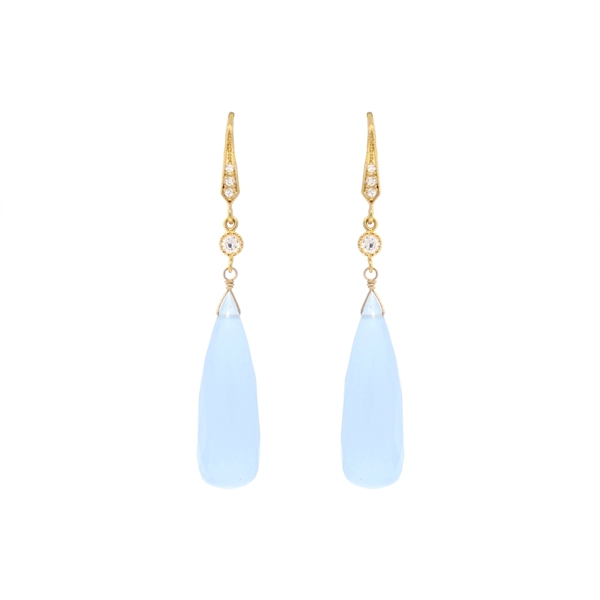 Lavender Chalcedony and CZ Drop Earrings