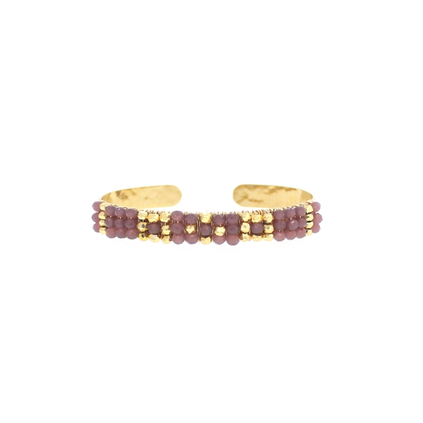 Plum Chalcedony and Gold Pyrite Bracelet, 14K Gold Fill