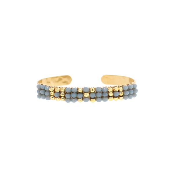 Blue Chalcedony and Gold Pyrite Bracelet, 14K Gold Fill