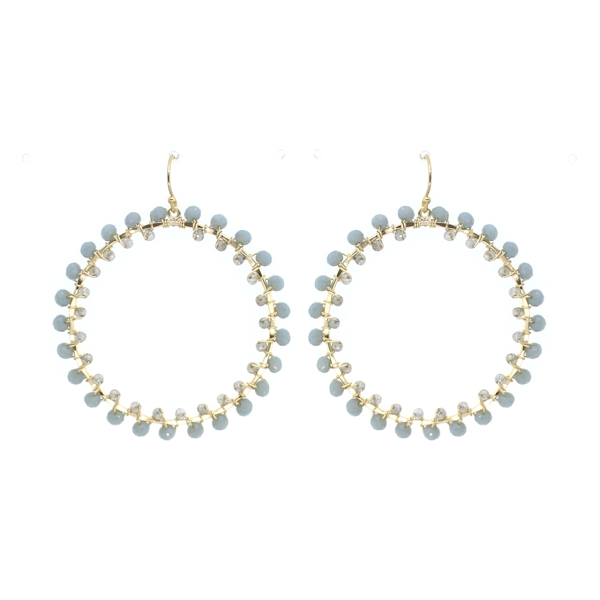 Blue Chalcedony and Mystic Labradorite Hoop Earrings, 14K Gold Fill