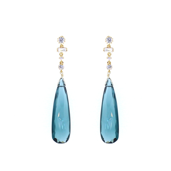 London Blue Quartz Multi CZ Drop Earrings