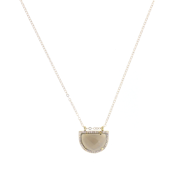 Grey Moonstone CZ Half Moon Necklace, 14K Gold Fill