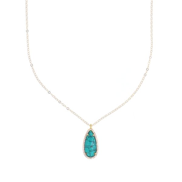 Turquoise CZ Teardrop Necklace, 14K Gold Fill