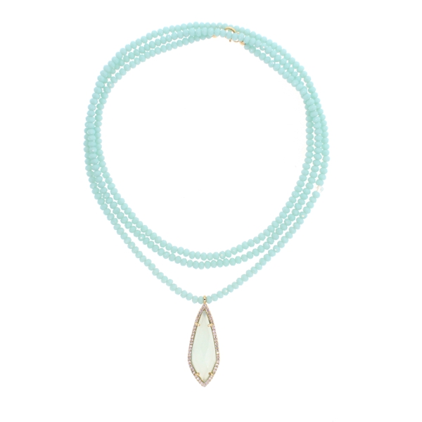 Mint Chalcedony, Herkimer Diamond Quartz and CZ Aqua Chalcedony Beaded Necklace