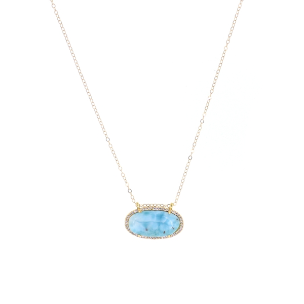 Larimar CZ Oval Necklace, 14K Gold Fill
