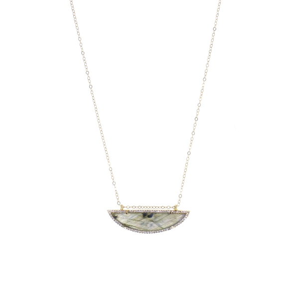 Labradorite CZ Long Half Moon Necklace, 14K Gold Fill