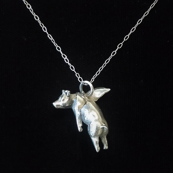 Pendant - When Pigs Fly Silver
