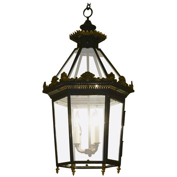 English Victorian Black Tole and Parcel-Gilt Hexagonal Hall Lantern, circa 1860