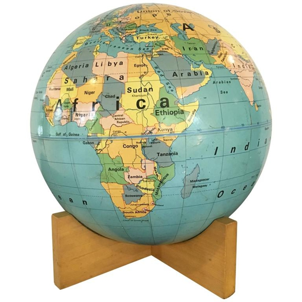 Vintage Nystrom 12-Inch Readiness Globe on Wood Base, 1967