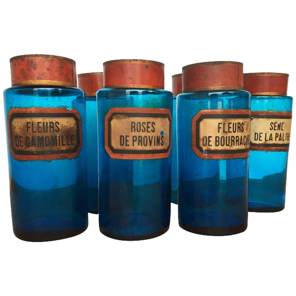 Vintage French Blue Glass Apothecary Jars