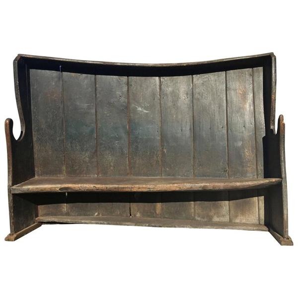 Vintage English Settle Bench, circa 19th Century