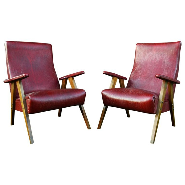 Vintage Red Leather Armchairs, circa 20th Century