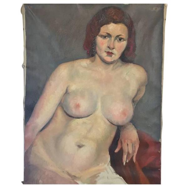 Vintage Nude Oil on Canvas Painting by Savignol, c. 1930