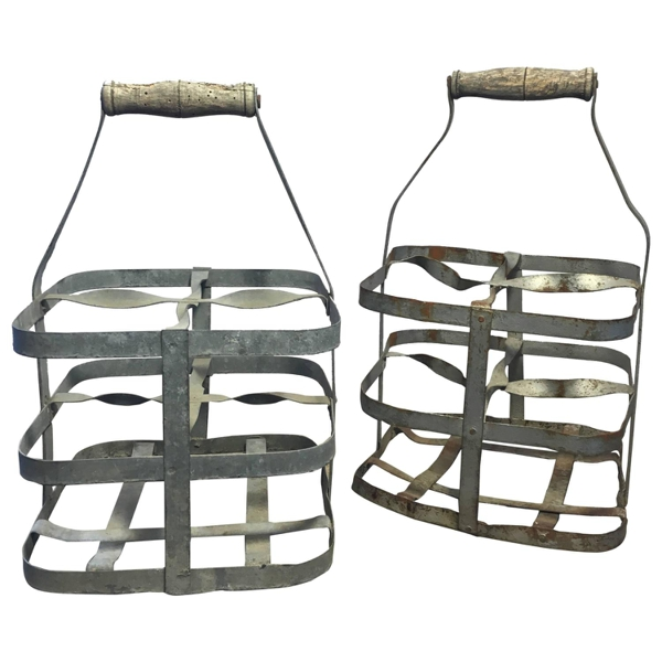 Early 20th Century Vintage French Four-Bottle Wine Carrier Baskets