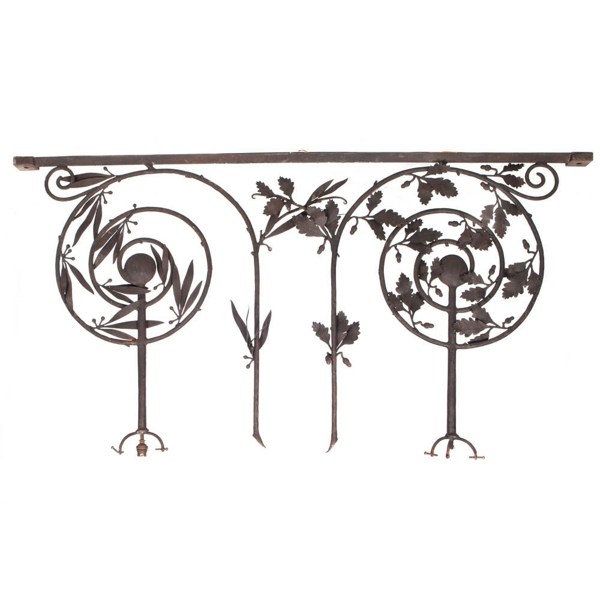 Vintage Iron Hanging Grille with Botanical Motif, c. 1900