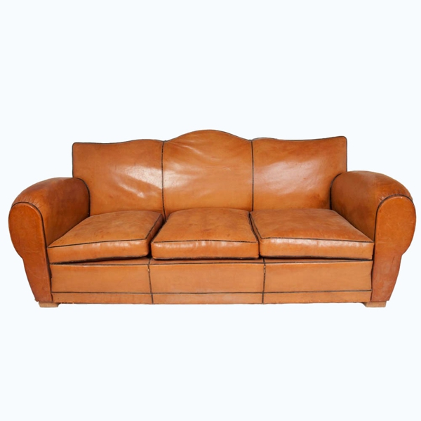 Art Deco Leather Sofa