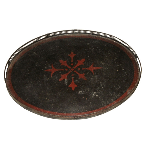 Black Tray with Bordure and Red Star, Belgium, c. 1900