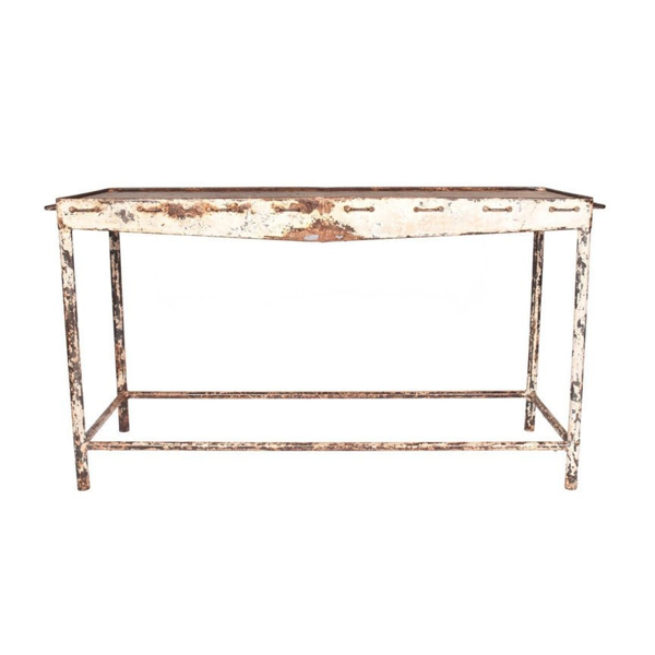 Vintage White Metal Console Table with perforations, c. 1930s