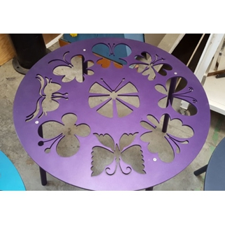Butterfly Table - Purple - With Glass Top